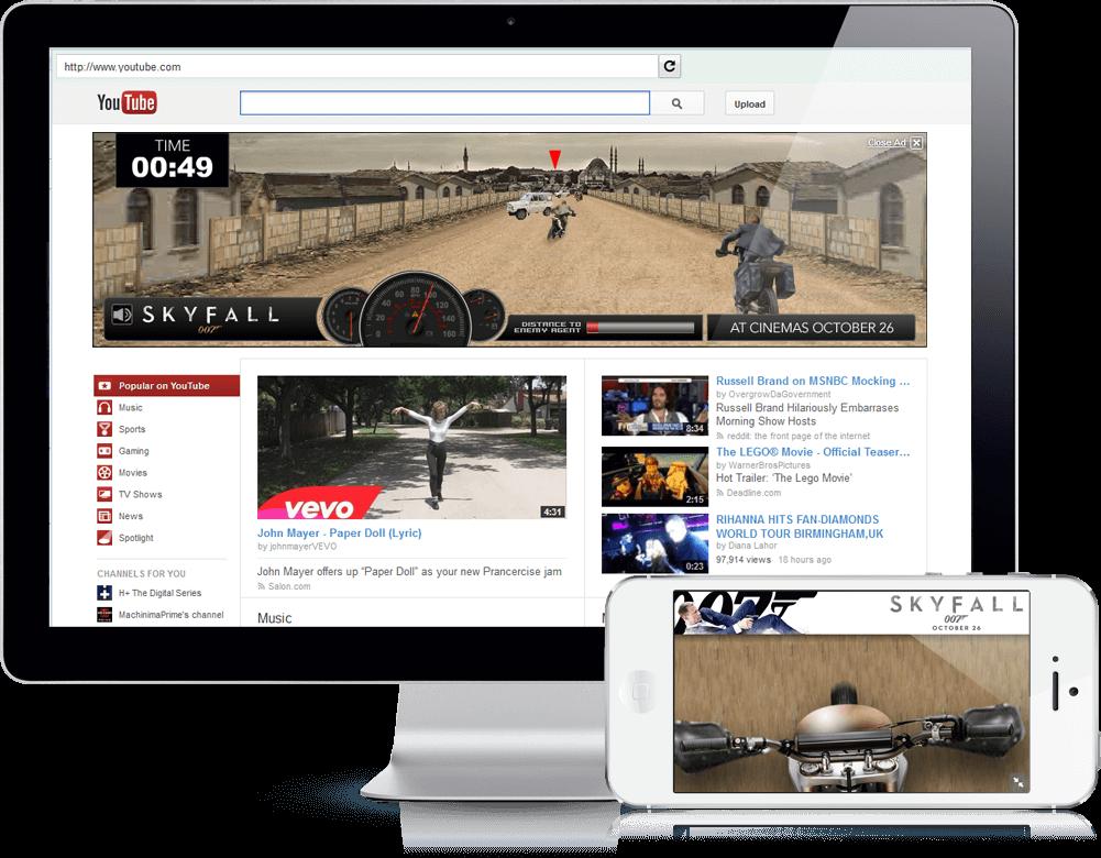 Skyfall Motorbike Chase - Youtube Masthead, Mobile Game