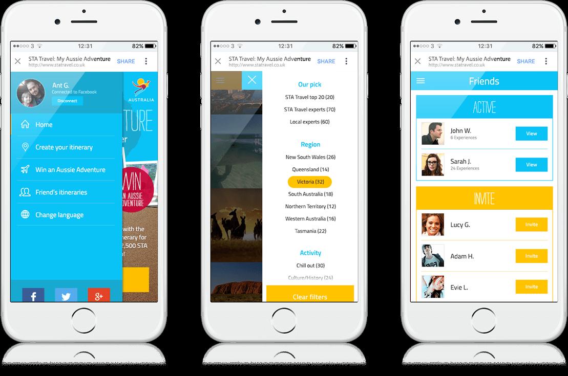 #MyAussieAdventure - Social App, Cross Platform, Facebook
