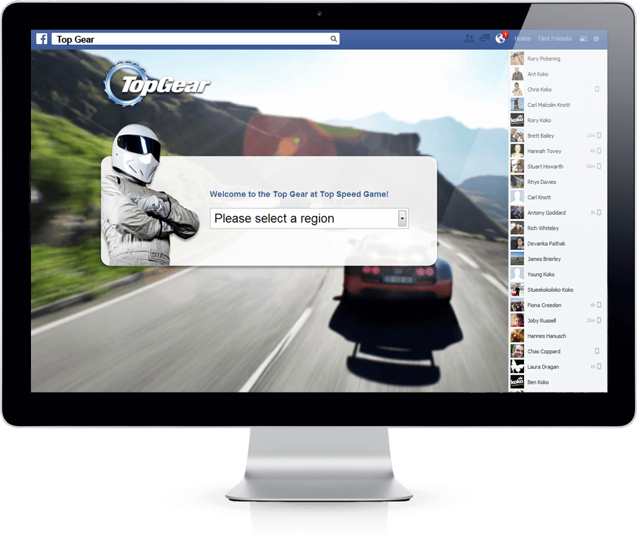 BBC Top Gear Game - Facebook, Viral Game, Competition