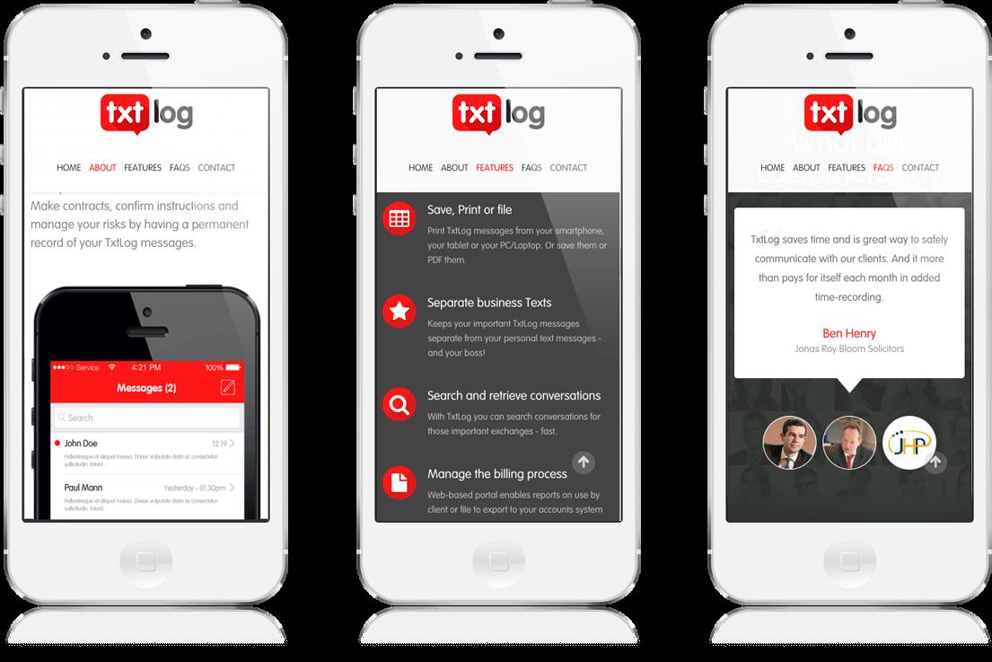 Txt Log - iOS App, Microsite