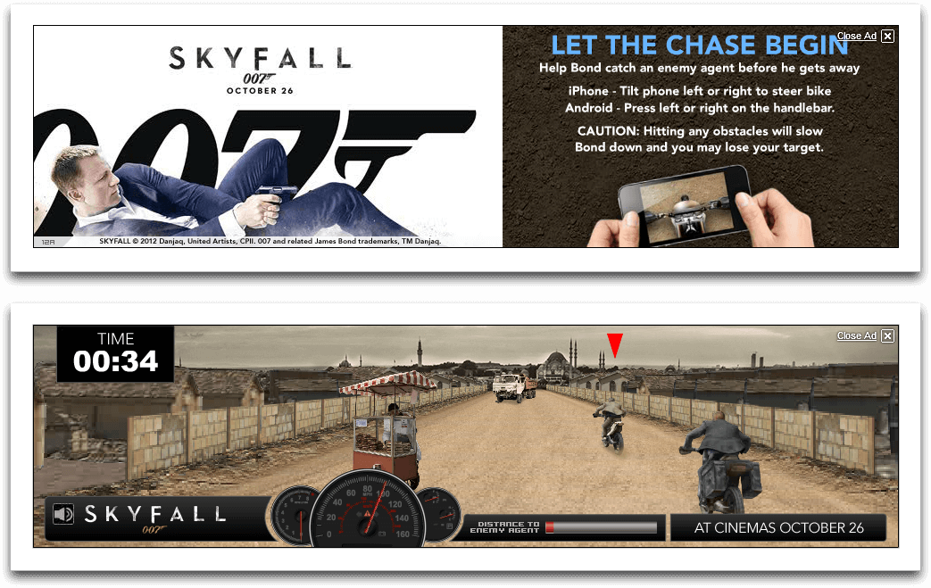 Skyfall Motorbike Chase - Youtube Masthead, Mobile Game