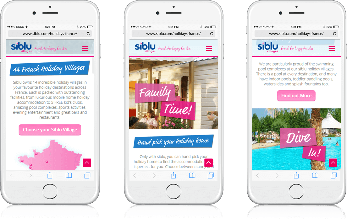 Siblu Villages - Microsite, Banner Ads, Cross Platform