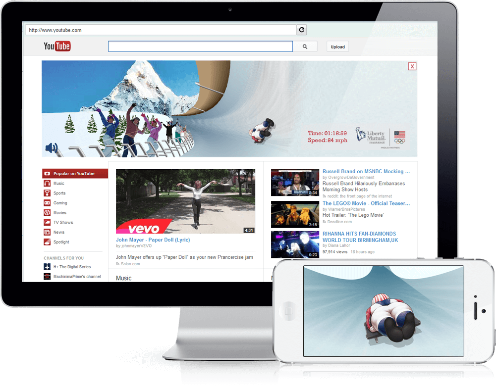Winter Olympics Game - Youtube Masthead, Branded Games
